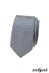 Šedá slim kravata s kostkovaným vzorem