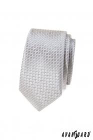 Šedá kostkovaná slim kravata