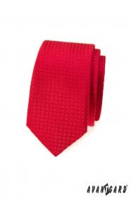 Červená kostkovaná slim kravata