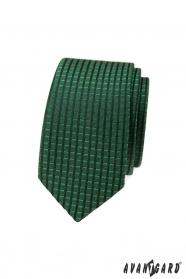 Zelená slim kravata s kostkovaným 3D vzorem