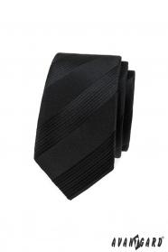 Černá pánská slim kravata s pruhy