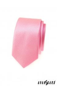 Úzká kravata Avantgard růžová kostka