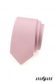 Kravata SLIM pudrová růžová MAT