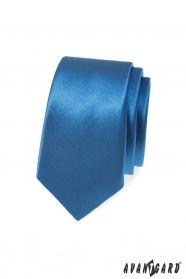 Modrá, hladká slim kravata