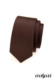Jednobarevná hnědá matná kravata SLIM