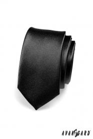 Úzká kravata SLIM černá lesk