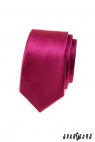 Pánská slim kravata v lesklé bordó