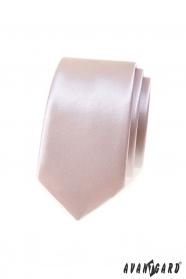 Lesklá slim kravata pudrové barvy