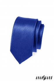 Úzká kravata SLIM modrá s leskem