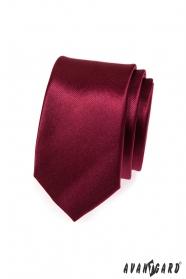 Jednoduchá hladká vínová kravata SLIM