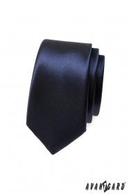 Hladká tmavěmodrá úzká kravata
