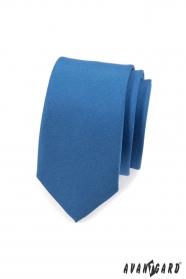 Úzká jednobarevná kravata SLIM Modrá mat