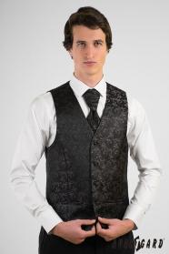 Černá vzorovaná pánská vesta s francouzskou kravatou