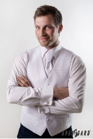 Svatební vesta s kravatou a kapesníčkem Bílá lesklý vzor