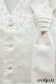 Smetanová svatební vesta a francouzská kravata s jemným vzorem
