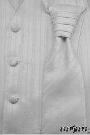 Svatební vesta s kravatou a kapesníčkem Bílá jemná linka