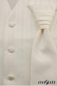 Svatební vesta s kravatou smetanová s širokými proužky