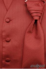 Svatební vesta s kravatou a kapesníčkem bordó strukturovaná