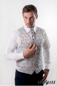 Svatební vesta s kravatou stříbrná s ornamenty