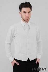 Pánská svatební vesta bílá diagonála