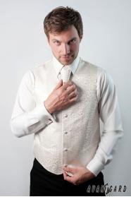 Smetanová pánská vesta s francouzskou kravatou