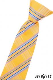 Chlapecká kravata žlutá s modrými proužky