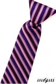 Chlapecká kravata růžové modré a fialové pruhy
