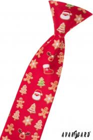 Dětská vánoční kravata červená 31 cm