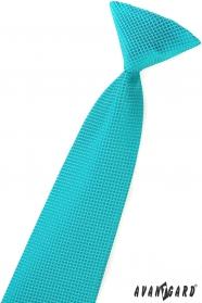 Chlapecká kravata tyrkysová čtverečky