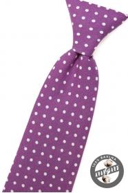 Chlapecká kravata fialová s bílými puntíky