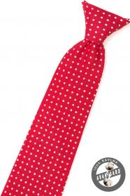 Červená chlapecká kravata s bílým puntíkem