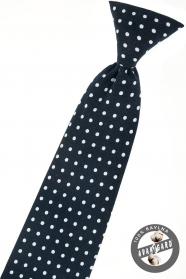 Tmavě modrá chlapecká kravata s bílým puntíkem