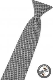 Černá chlapecká kravata s šedým vzorem