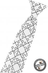 Bílá chlapecká kravata Puzzle