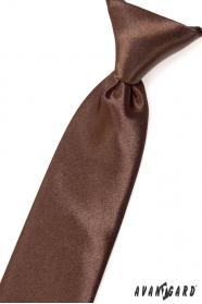 Chlapecká kravata hnědá lesk