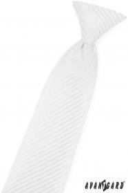 Bílá chlapecká kravata s lesklým proužkem