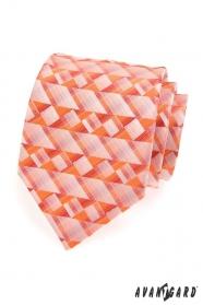 Pánská kravata oranžová geometrické tvary