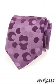 Pánská kravata fialová s bublinami