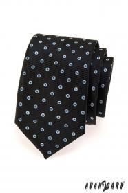 Černá pánská kravata s modro bílým puntíkem