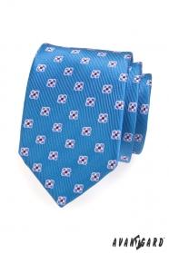Modrá pánská kravata vzorovaná s květy