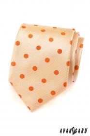 Pánská kravata lososová s oranžovým puntíkem
