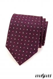 Pánska kravata fialová s puntíky