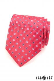 Růžová pánská kravata modré bílé čtverečky