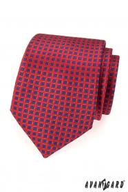 Červená kravata modrý vzor