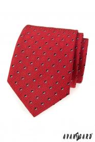Pánská kravata červená s černobílými čtverečky