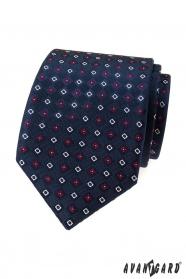 Tmavě modrá kravata s barevným vzorem