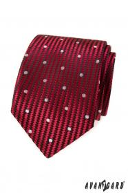 Červená strukturovaná kravata velké bílé tečky