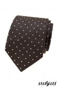 Hnědá kravata se světlým puntíkem