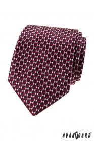 Bordó kravata s trojúhelníkovým vzorem