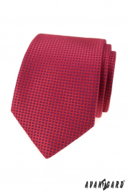 Červená kravata s modrými tečkami